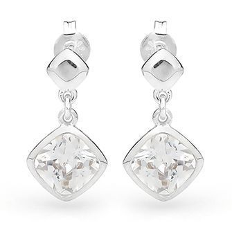 Silver Drop Earrings with Cubic Zirconia - BEE-35311-CZ
