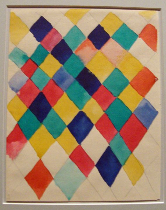Farbstudie mit Rauten (Color Study with lozenges), by Vasily Kandinsky, 1913; Watercolor and pencil on paper; Stadtische Galerie im Lenbachhaus, Munich