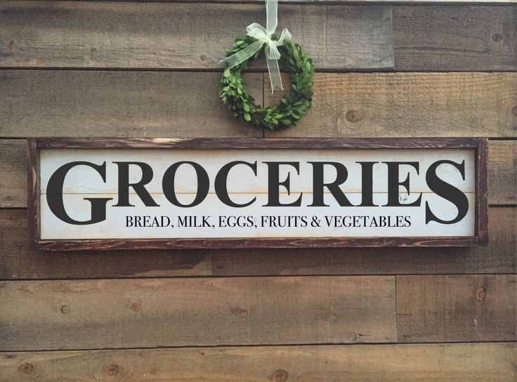 Grocery Sign Framed Shiplap Vintage Home Decor By BrushAndTwine