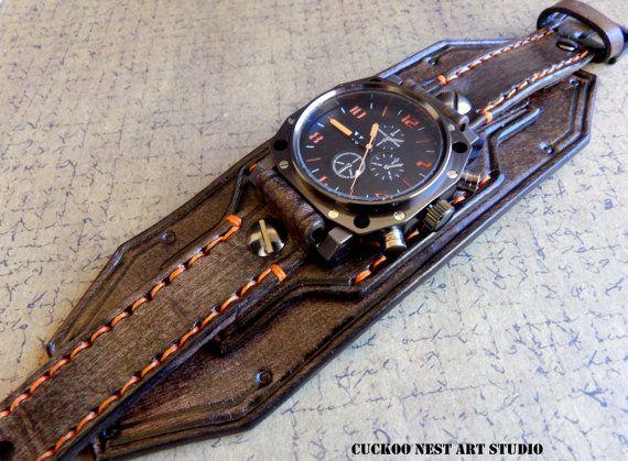 137e Bracelet montre en cuir noir marron hommes par CuckooNestArtStudio
