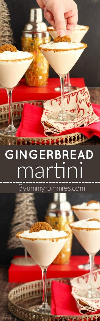 A Gingerbread Martini with Vanilla Vodka, Baileys, Hot Damn! and a Ginger Simple Syrup is to be savored year-round!