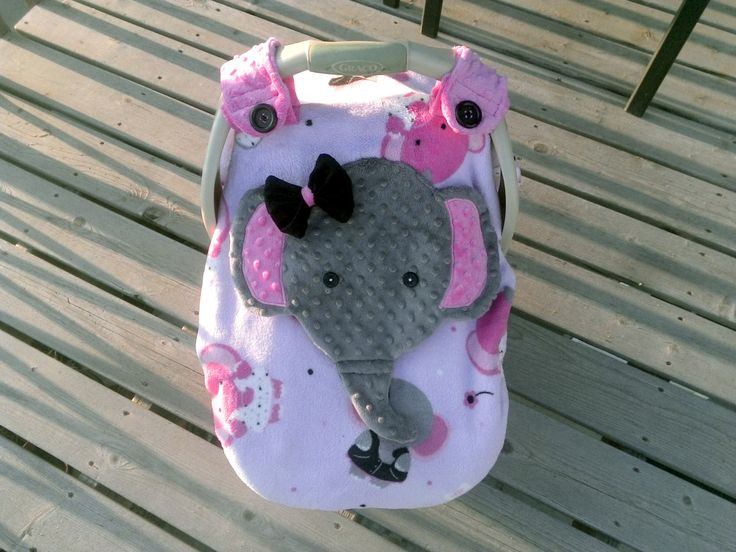 Girls Appliqued Fitted Elephant Car Seat Canopy With Peek-A--Boo Opening  Soft And Comfy,Micro Fleece,  Minky by lindasnd on Etsy