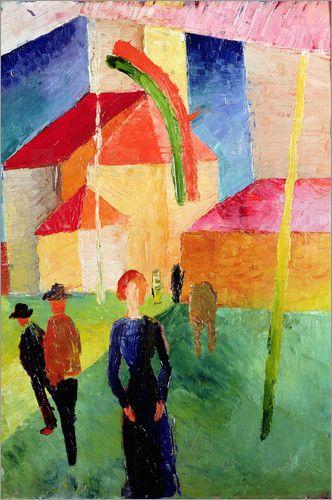 Kirche mit Fahnen geschmückt - August Macke