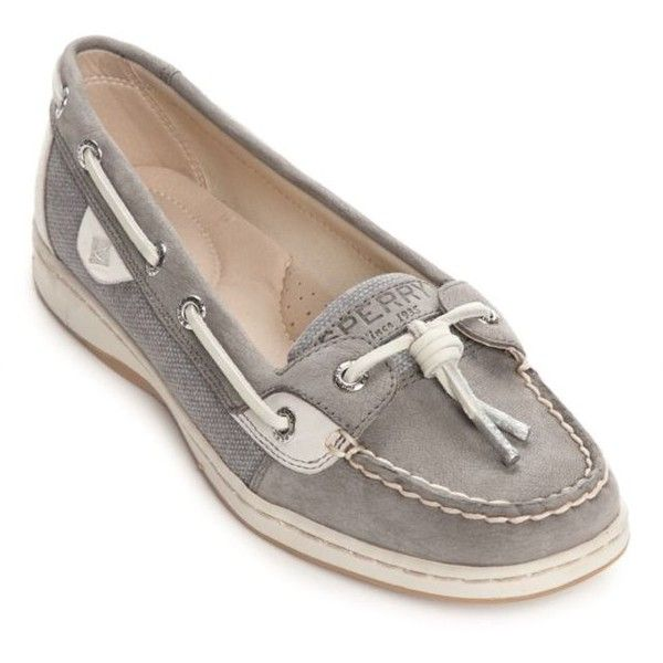 Sperry Grey Dunefish Boat Shoes (4,120 DOP) ❤ liked on Polyvore featuring shoes, loafers, grey, boat style shoes, sperry footwear, topsider shoes, grey shoes and grip shoes
