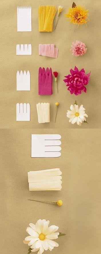 Haz unas florecitas de papel, con las imágenes ya te puedes guiar #DIY