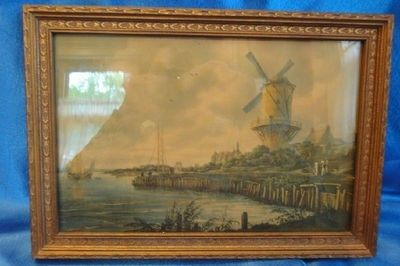 $30 40s VTG Antique JACOB VAN RUISDAEL Print&Frame Old Dutch Mill WINDMILL by Wijk | It was framed up by an art company in Chicago possibly as early as the 30s or as late as the mid 50s,