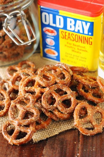 Mini pretzel twists seasoned with Old Bay, Ranch seasoning, and cayenne. They're addictively delicious.