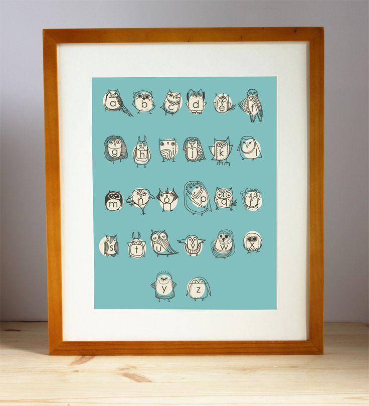 Turquoise Alphabet Nursery Art Print Boys Room Decor by Gingiber