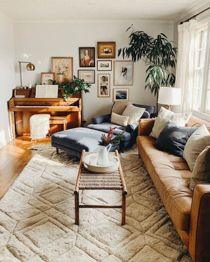Boho Cozy Modern Living Room With Leather Sofa Gallery Wall And Plants Bright Livingroom Boholiv Farm House Living Room Rustic Living Room Boho Living Room