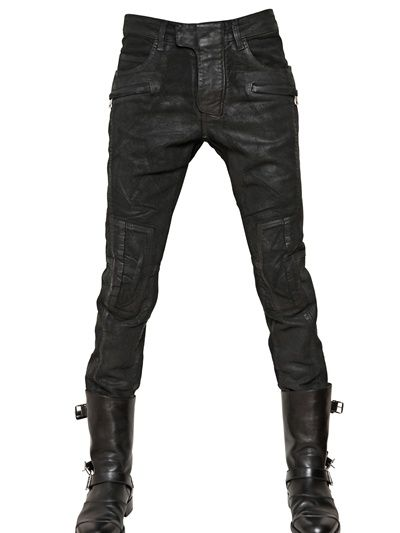 Balmain | Black 18cm Waxed Moleskin Ankle Length Jeans for Men