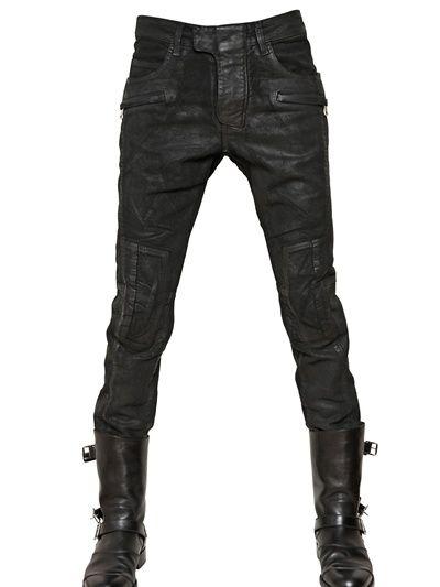 Balmain   Black 18cm Waxed Moleskin Ankle Length Jeans for Men