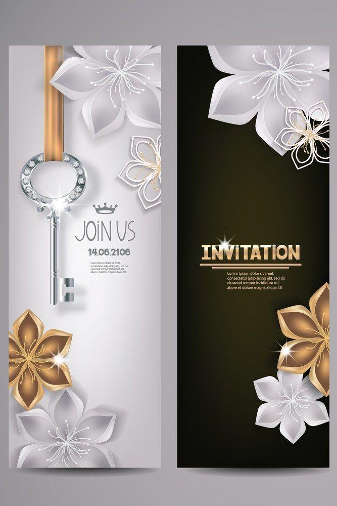 Invitation Card With Key And Floral Background Vector Illustration Weddinginvitation Wedding Invitations Invitations Wedding Guide