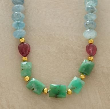 Each stone is clearly distinguishable: chrysoprase, aquamarine and smooth pink tourmaline. Handmade exclusive by Lena Skadegard with 18kt gold beads