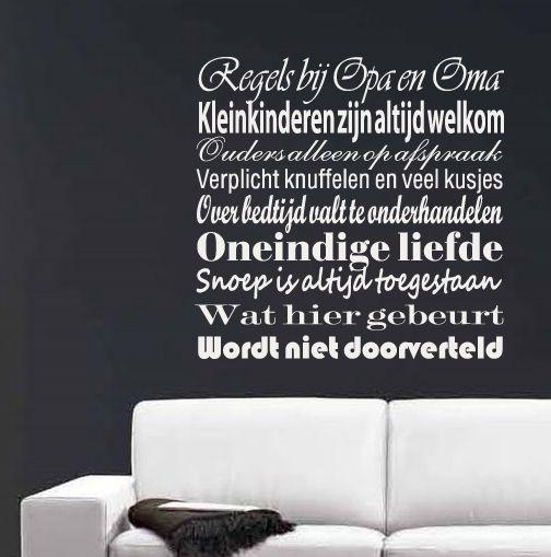 Een mooi vormgegeven muursticker met daarop de regels zoals die gelden bij opa en oma thuis. Leuk om cadeau te geven.