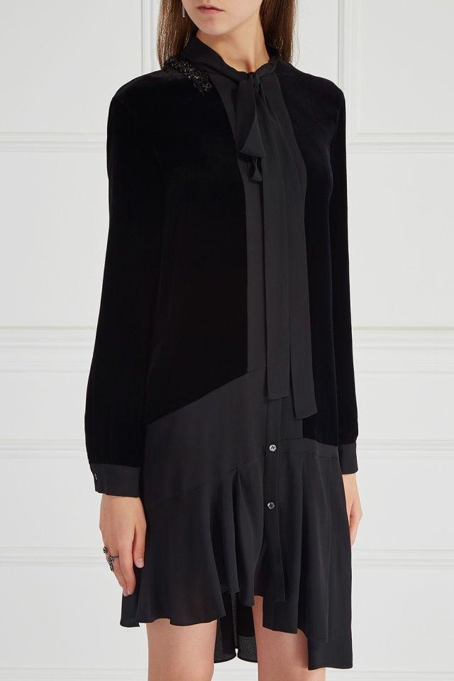 Комбинированное платье No.21 - Однотонные ткани разных фактур – один из любимых дизайнерских приемов Алессандро Дель Аква в интернет-магазине модной дизайнерской и брендовой одежды