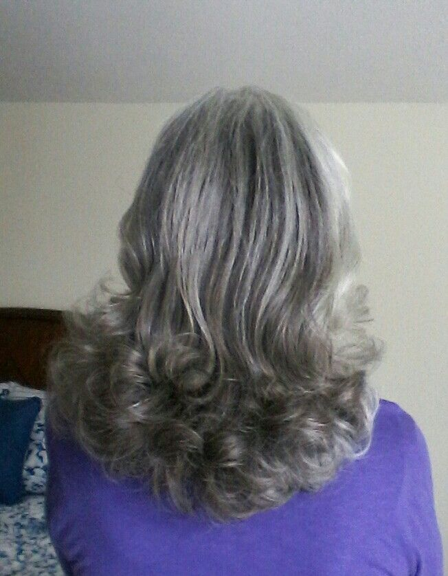 Hot rollers in long gray hair....if I could be bothered would look great!!