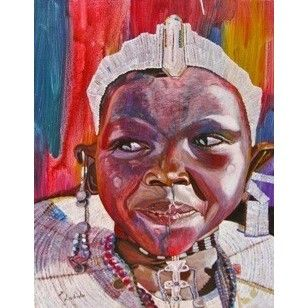 Esyangiki Massai Acrylic on Canvas - Emmanuel Lobulu