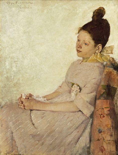 OLGA BOZNAŃSKA ZADUMANA DZIEWCZYNKA, 1889 olej, płótno 85 x 65,8 cm, sygnowany l.g.: Olga Boznańska 89   Kraków / 'Pensive Girl', 1889 - Olga Boznanska (1865-1940).