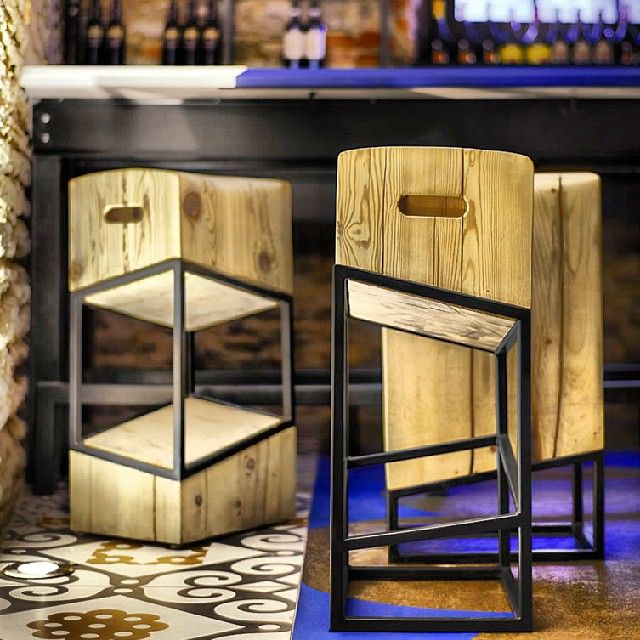 Custom Bar Stools CST made for Barsa Restaurant located in Toronto.  #Metal #Wood #Barstools #Carpentry Canadian Salvaged Timber