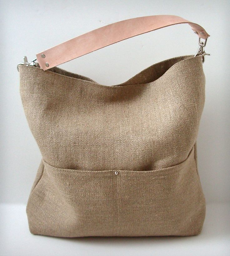linen + leather tote
