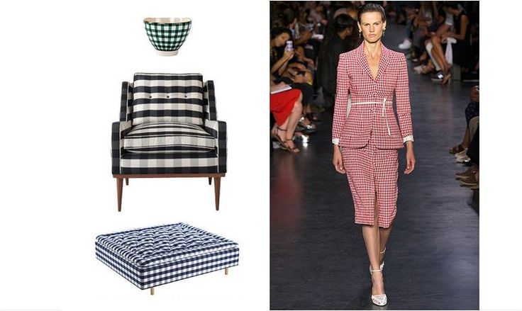 Gingham, the timeless checked fabric that works in any vernacular—from Swedish Gustavian upholstery to the American picnic table—was spotted on several runways this season. The iconic take on plaid is luxury handmade mattress-maker Hästens's calling card, while En Soie offers a new iteration of the fabric in gingham-painted tabletop accessories. Schoolhouse Electric takes the pattern midcentury with its Jack chair.