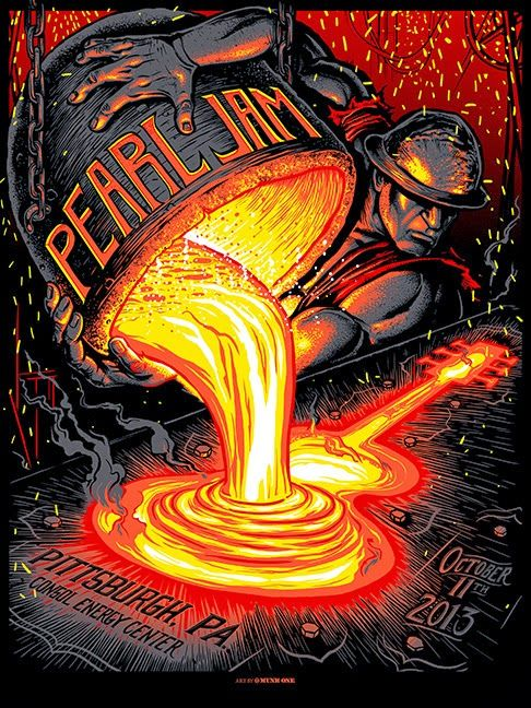 Pearl Jam gig poster///Pittsburgh, PA, October 11, 2013 ⚡️💥⚡️fucking awesome