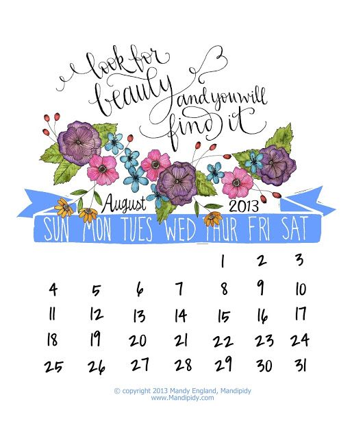 Mandipidy: Free Printable: August 2013 Calendar