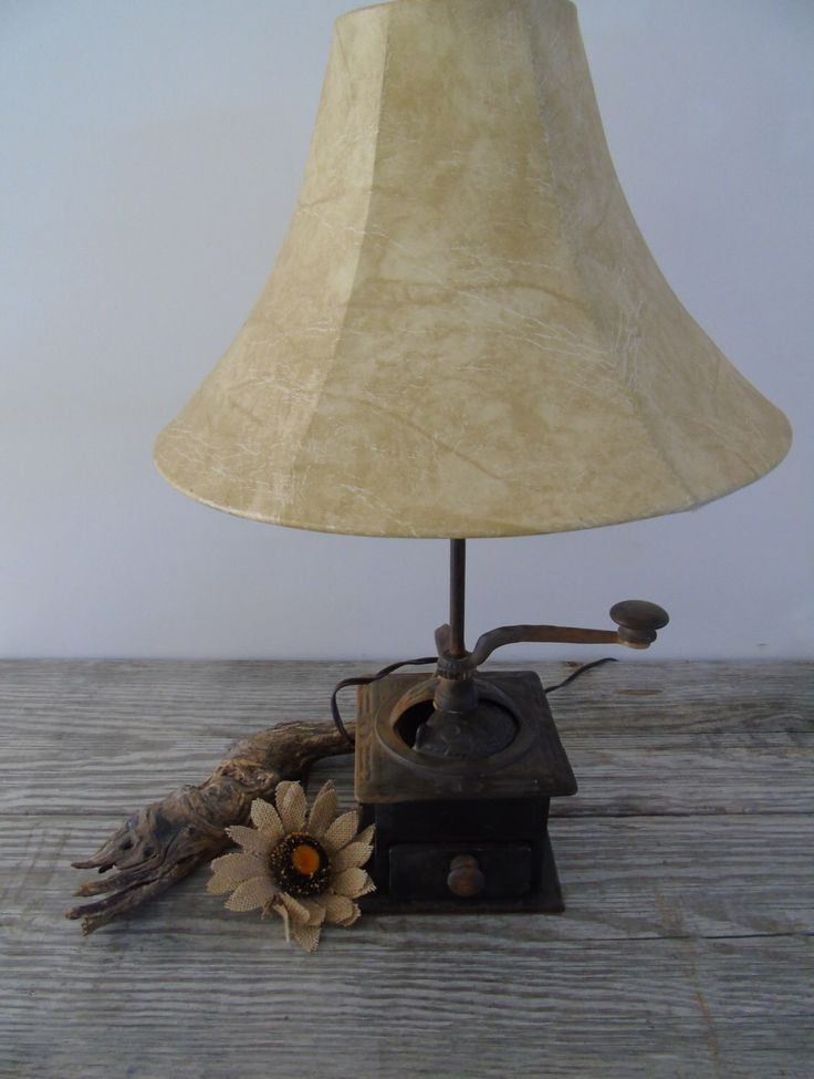 Primitive Folk Art Antique Hand Crank Coffee Grinder Upcycled Lamp Vintage Cast Iron and Wood by 777VintageStreet on Etsy https://www.etsy.com/listing/253011175/primitive-folk-art-antique-hand-crank