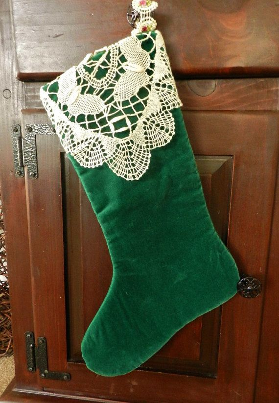Vintage VELVET CHRISTMAS STOCKING - Crocheted Lace / Hunter Green / Victorian / Shabby Chic. $14.00, via Etsy.