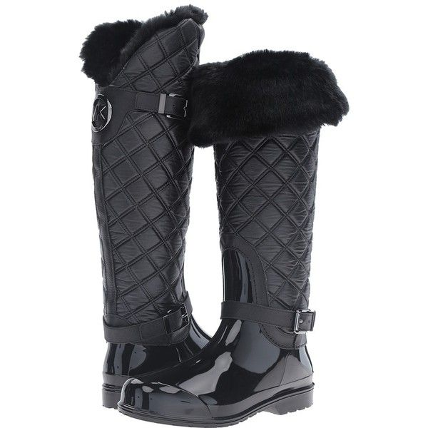 MICHAEL Michael Kors Fulton Quilted Rainboot (Black Rubber/Winter... (£155) ❤ liked on Polyvore featuring shoes, boots, over-the-knee boots, rubber boots, quilted rain boots, black rubber boots, black buckle boots and rain boots