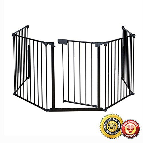 "New Fireplace Fence Baby Safety Pet Gate Dog Barrier Enclose Indoor Home 25""x30"". Brand New And High Quality & It's Safety for use around fireplaces, grills, wood burning stoves, etc. heavy duty tubular steel construction & All joints easily rotate and lock for secure attachment. A freestanding play area with optional extensions & Light weight, sturdy and easy to assemble. Material: Steel+Plastic & individual panels: 25"" x30"" & Weight: 26.4 lbs. Overall gate width: 120"" & Overall gate..."