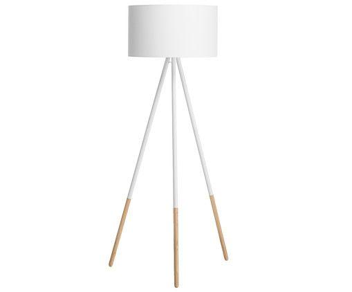 Stehleuchte Ella, Gestell: Weiß, Holzfarben, Lampenschirm: Weiß