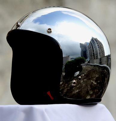 Masei Silver Chrome 610 Open Face Motorcycle Helmet