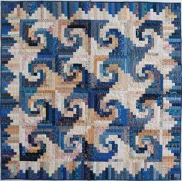 """Shenandoah Log Cabin quilt - Cookies 'n' Quilts, 2001. Designed and pieced by Judy Martin. Quilted by Jean Nolte. 60"""" x 60""""."""