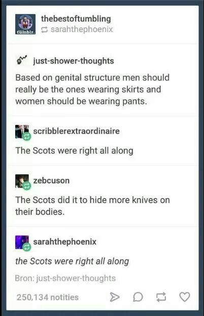 I always thought it should be the other way around. Ladies have the anatomy for pants. Men have the anatomy for skirts.