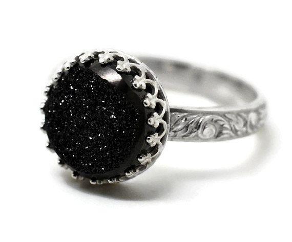 Black Druzy Ring Renaissance Ring Gothic Gemstone by fifthheaven