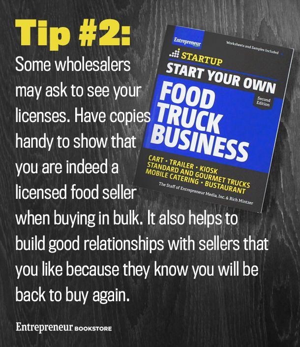 Start Your Own Food Truck Business, 2nd Edition: Have copies of your licenses handy to show wholesalers you are indeed a licensed food seller.