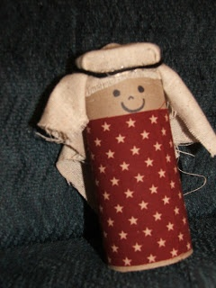 Toilet paper roll with scraps of fabric make great Bible people!