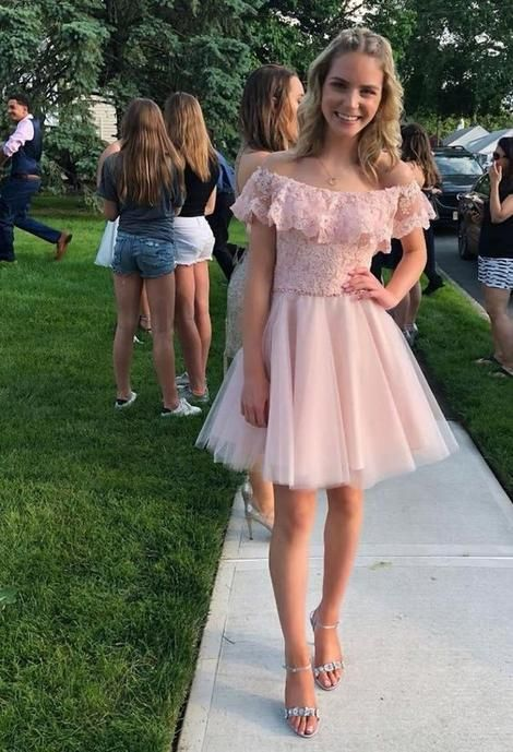 Blush Pink Off the Shoulder Short Party Dress, Cocktail Lace Short Homecoming Dress S262