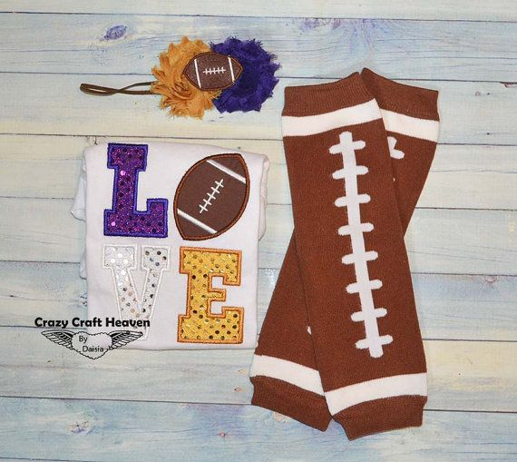 Baby Girl Football outfit Love football Baby by CrazyCraftHeaven