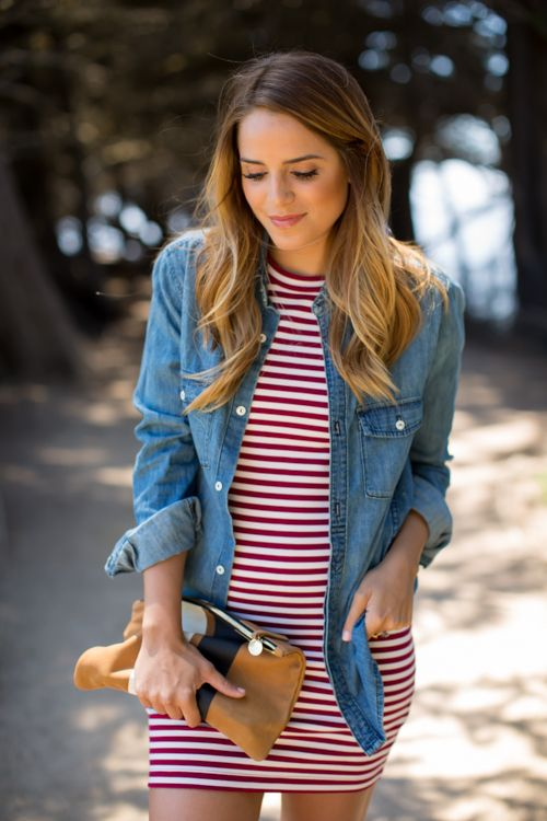 Denim shirts are all the rage and perfect when paired with this red and white stripped dress