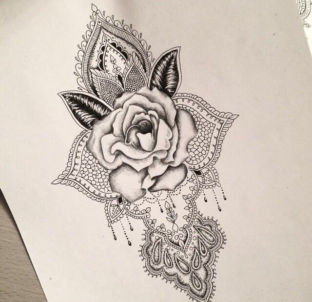 Rose mandala tattoo design                                                                                                                                                      More