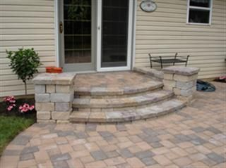 curved stone paver front porch steps - Patio Steps Design