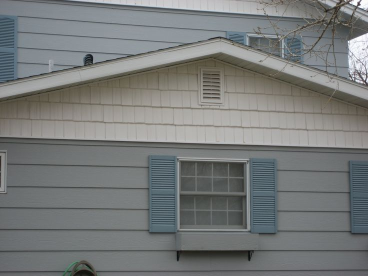 white shake style siding on gable | Remodel - siding and ...
