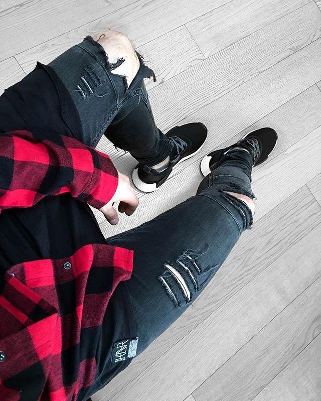 Adidas NMD, KDVR Clothing, Streetwear, Red & black shirt, distressed denim, jeans, layered t-shirt