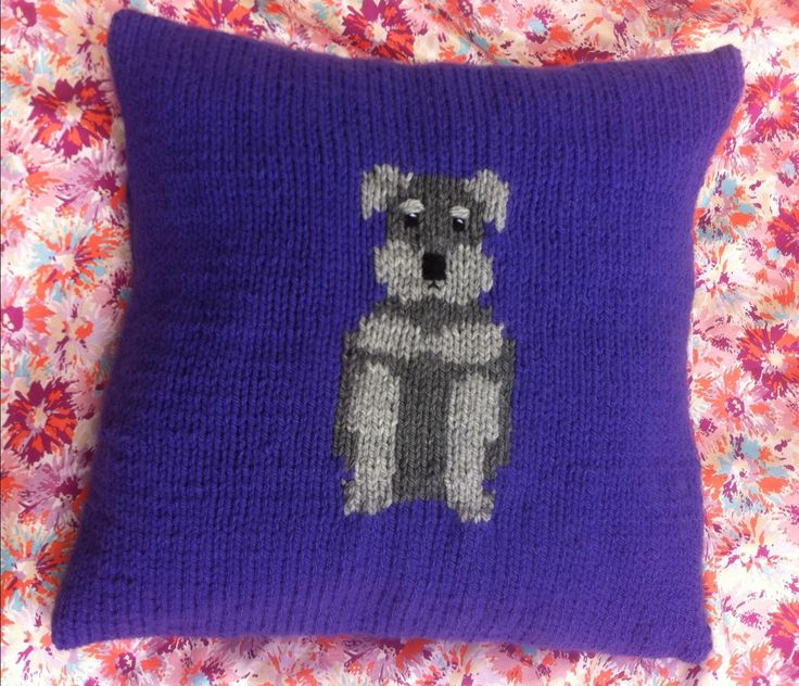 Schnauzer dog cushion cover, chunky knitting pattern ...