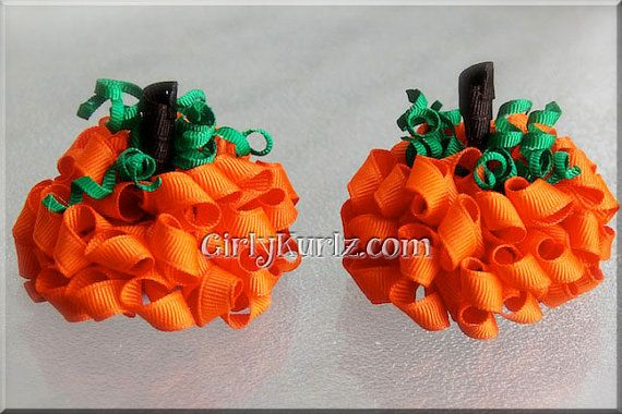 Pumpkin+Kurly+Pom+Pom+Hair+Bow+Halloween+Hair+Bow+by+GirlyKurlz,+$15.00