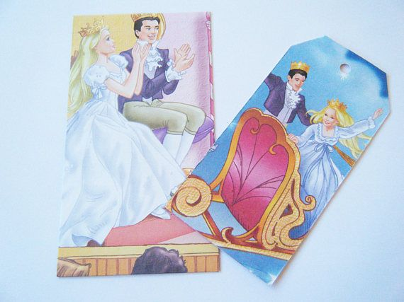 Barbie The Nutcracker Upcycled Little Golden Book Set of 6 Envelopes and Matching Gift Tags. Lovely for a little girls birthday present.