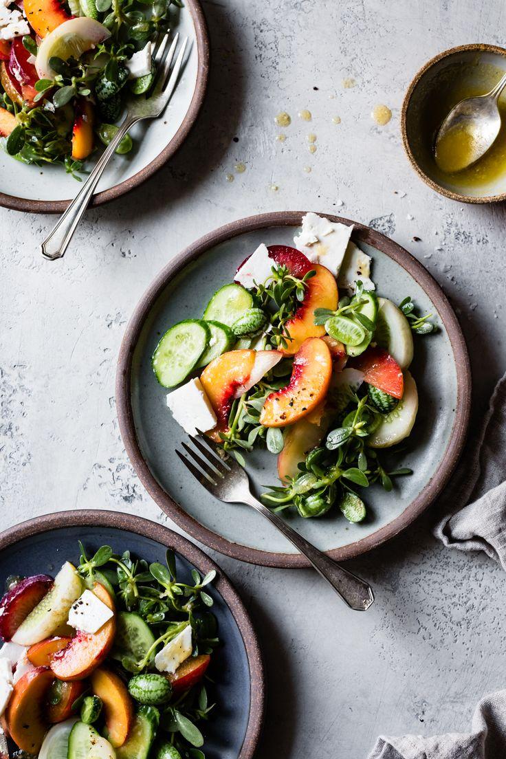 Stone Fruit Cucumber Salad with Ricotta Salata, Purslane, and Golden Balsamic Miso Vinaigrette