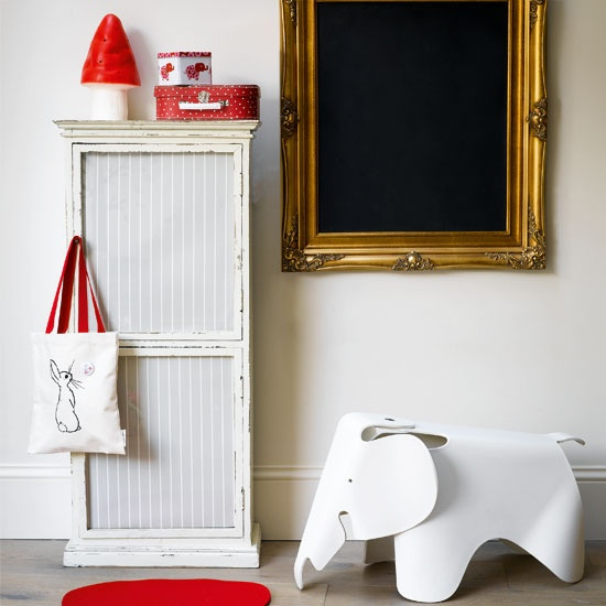 Wow love that elephant stool, white cupboard and the touches of red as an accent.: Playrooms Storage, Gold Frames, For Kids, White Bedrooms, Eames Elephants, Storage Ideas, Kids Decor, Chalkboards Frames, Kids Rooms